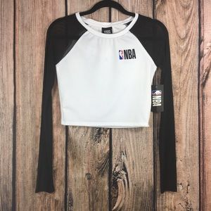 NBA Long Sleeve White with black sheer sleeves med